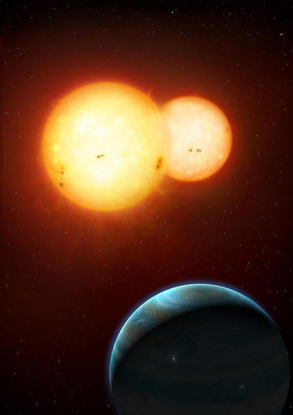 An artist's illustration of Kepler-35 b, a Saturn-size planet around a pair of sun-size stars, as envisioned by artist Mark A. Garlick.  The discovery of Kepler-35b and another twin sun planet, Kepler-34 b, was announced Jan. 11, 2012 and represent a new class of circumbinary planets.