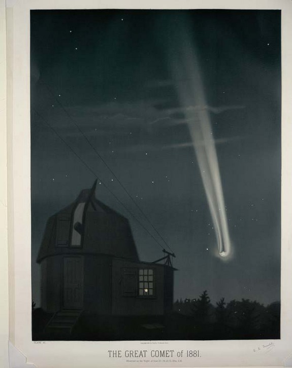 A chromolithograph of the great comet of 1881 by Trouvelot