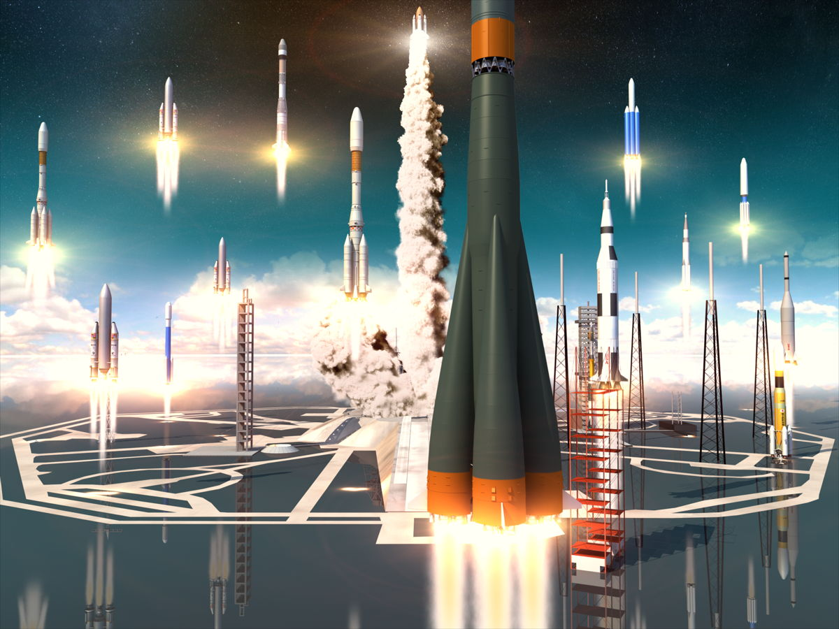 Rockets Launching Illustration