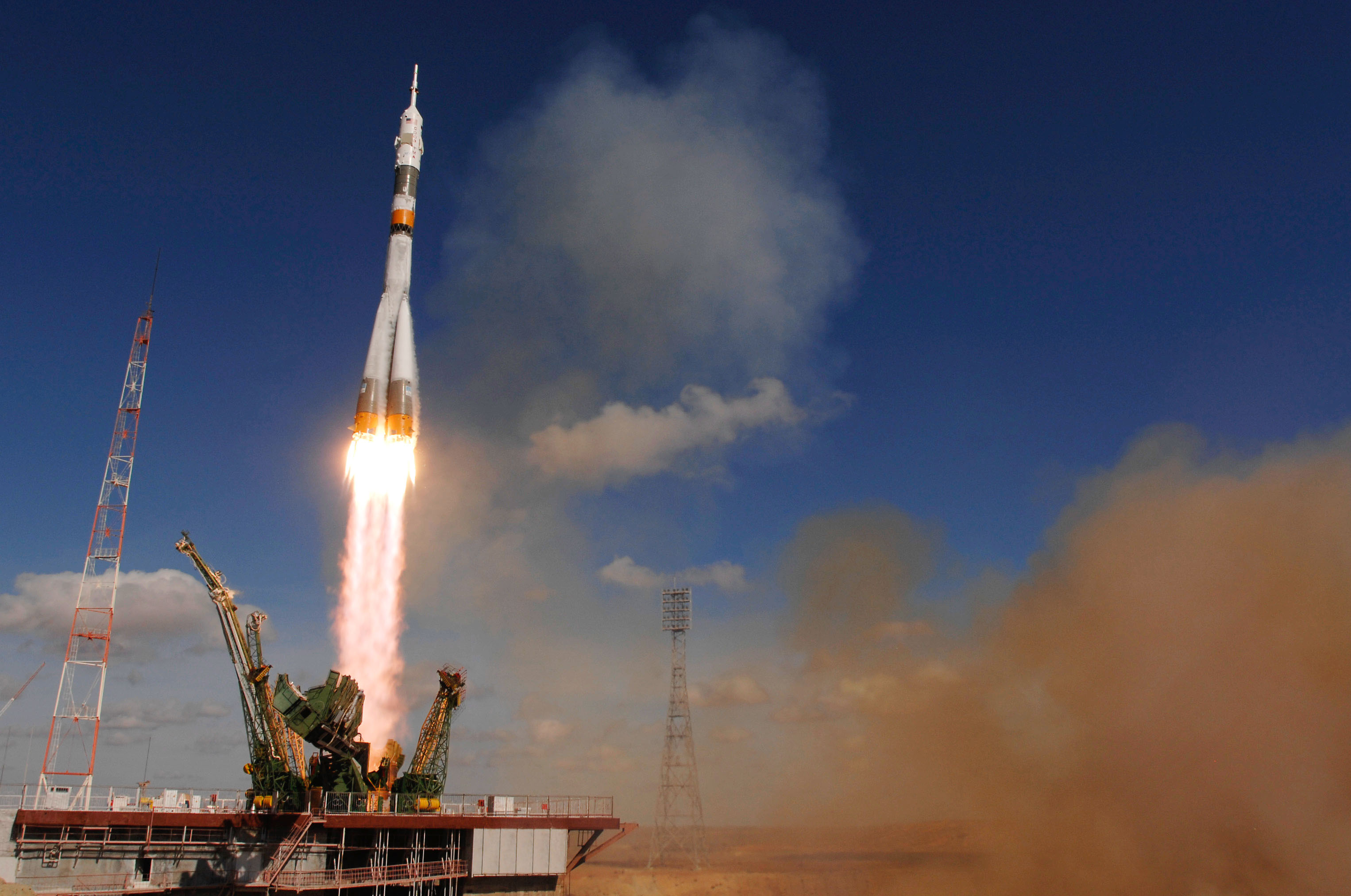 The Soyuz TMA-13 spacecraft launches from the Baikonur Cosmodrome