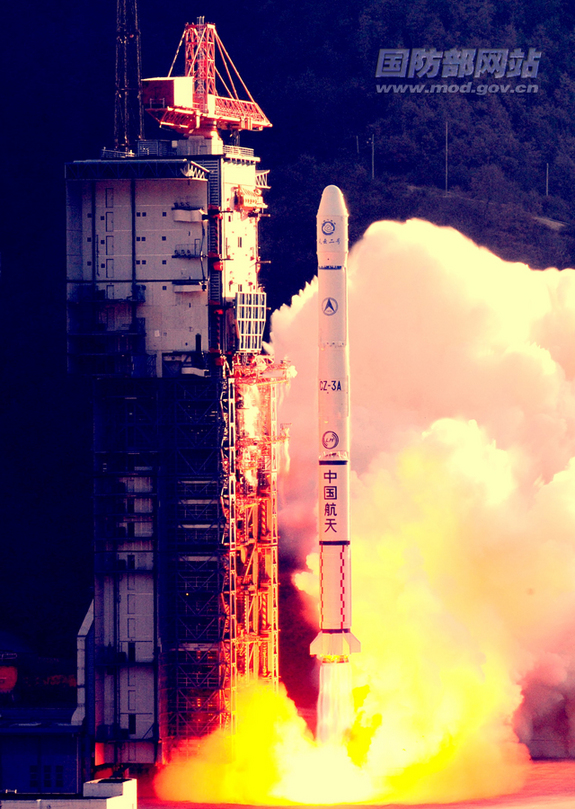 China's Fengyun 2F weather satellite lifted off atop a Long March 3A rocket Jan. 13, 2012.