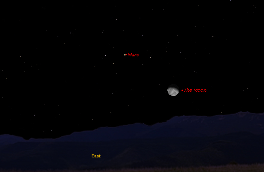 Moon & Mars Meet in Night Sky Tonight