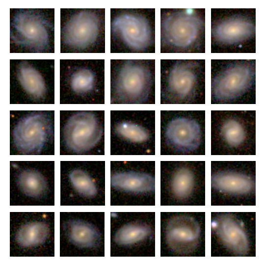 Images of 25 Milky Way analog galaxies found by astronomers Timothy Licquia and Jeffrey Newman. These objects are shown in order from bluest (top left) to reddest (bottom right) overall color. They are relatively close to the Milky Way - about 500 million light years away; the light seen left at a time when the first fish were appearing in the oceans on Earth.