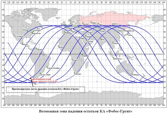 This Russian-language map depicts the latest re-entry prediction for Russia's failed Phobos-Grunt Mars Probe for Jan. 14, 2012. The map indicates that the 14-ton spacecraft could crash somewhere off the southwestern coast of South America on Jan. 15.