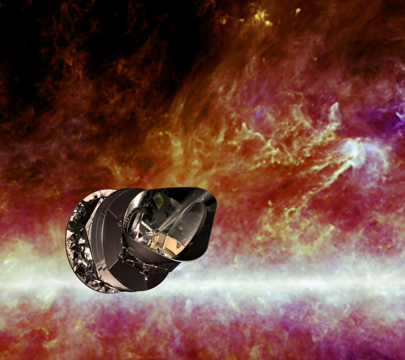 Artist's impression of the European Space Agency's Planck spacecraft. Planck's main goal is to study the Cosmic Microwave Background — the relic radiation left over from the Big Bang.