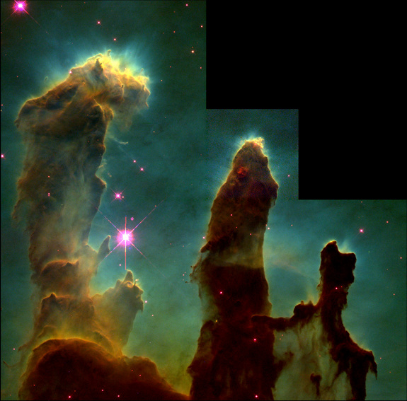 This 1995 Hubble Space Telescope image of the 'Pillars of Creation' is probably the most famous astronomical image of the 20th Century. Taken in visible light using a combination of SII/H-alpha and OIII filters, it shows a part of the Eagle Nebula where new stars are forming. The tallest pillar is around 4 light-years high.