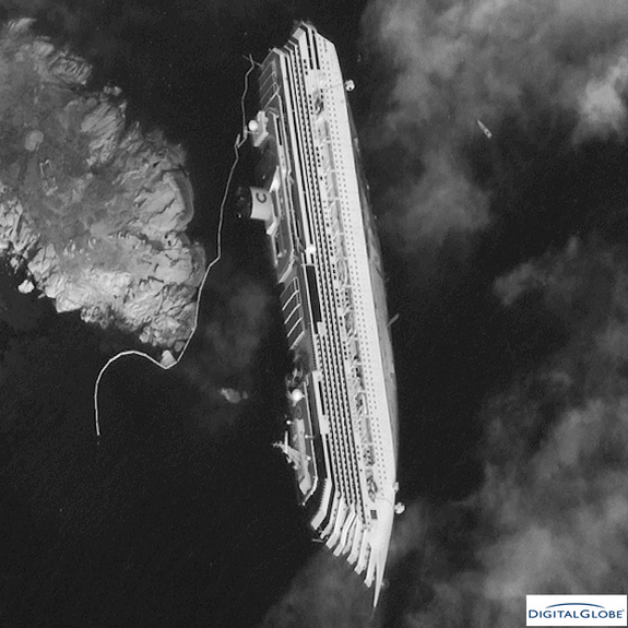 A closeup image of the Costa Concordia cruise ship taken by a DigitalGlobe satellite on Jan. 17, 2012. The luxury cruise ship ran aground in the Tuscan waters off of Giglio, Italy on Friday, January 13, 2012.