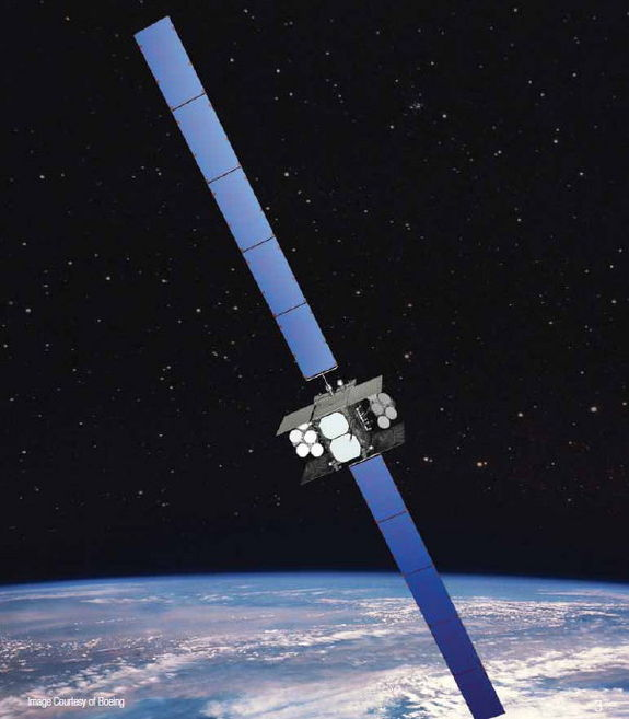 An artist's illustration of the Wideband Global SATCOM 4 satellite built by Boeing, which is launched into space on Jan. 19, 2012 from Cape Canaveral, Fla.