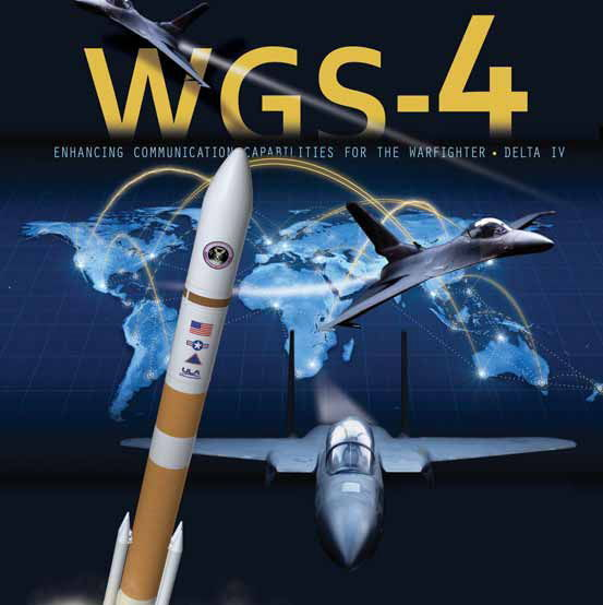 The mission poster for the Air Force's Wideband Global SATCOM 4 communications satellite mission launching on Jan. 19, 2012.