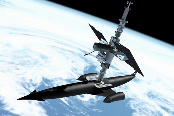 Reaction engines have devised a series of modules to demonstrate the proposed spaceship SKYLON's capabilities. Here, a space station has been assembled using docking, habitation, power, airlock and laboratory modules.