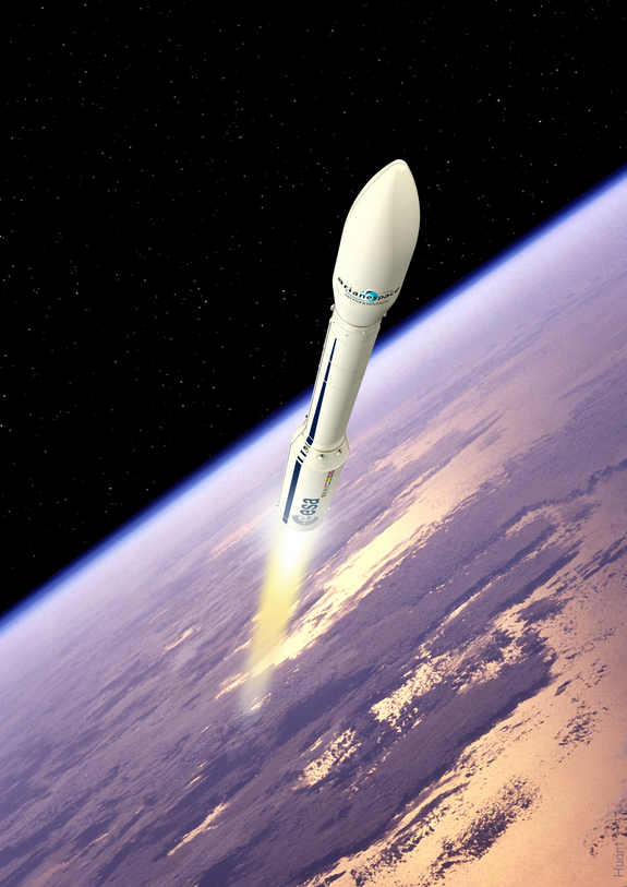 Artist's impression of Vega during launch. Vega is due to launch in January 2012, in what will be it's maiden launch, from Kourou, French Guiana.