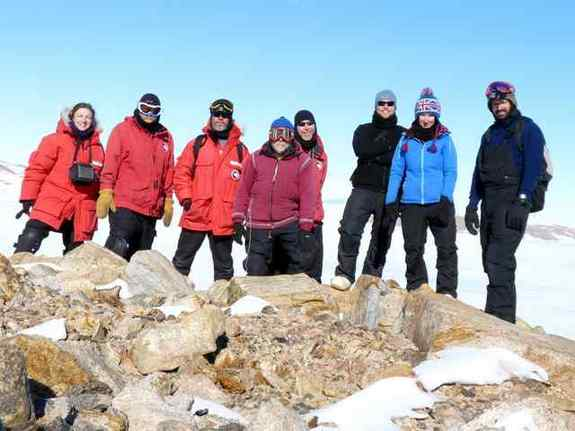 All-for-one picture of Antarctic meteorite hunters.