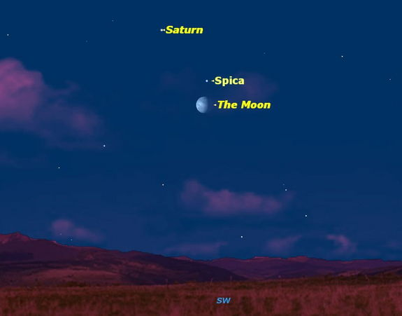 A pretty grouping of the planet Saturn, the bright star Spica, and the waning gibbous Moon occurs on Sunday, Feb. 12, 2012.