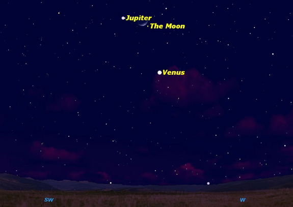 On February 26, 2012, the Moon will be close to the planets Venus and Jupiter.
