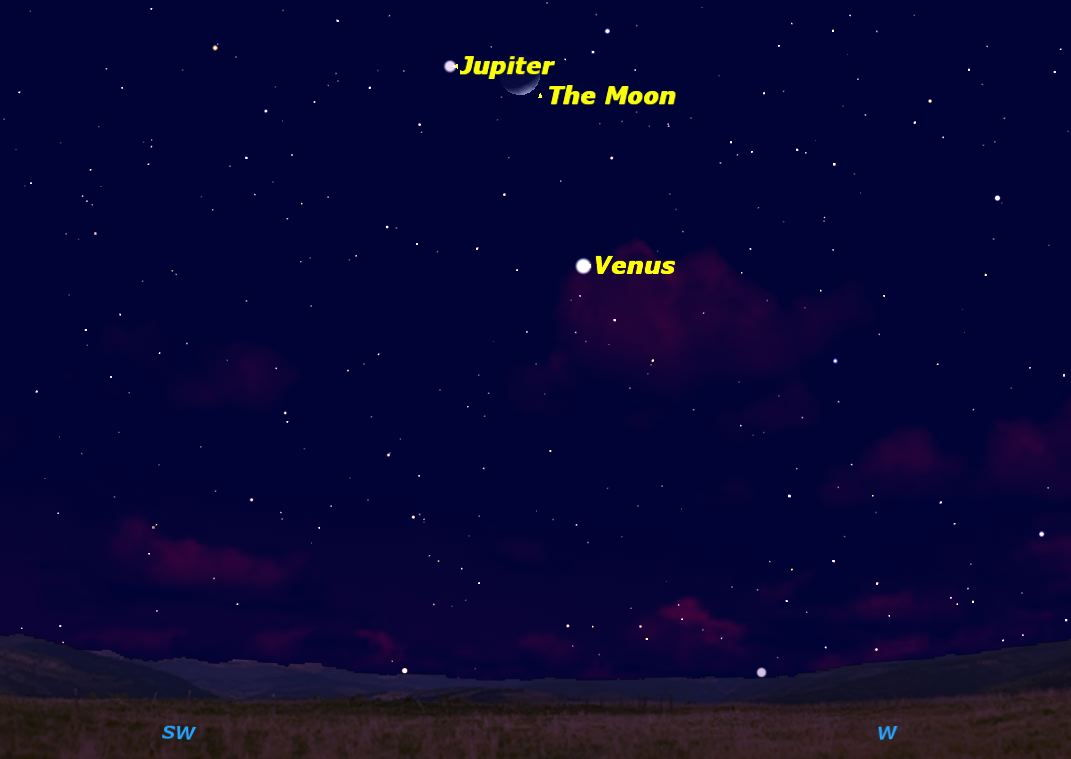Jupiter, Venus & Moon Sky Map February 26, 2012