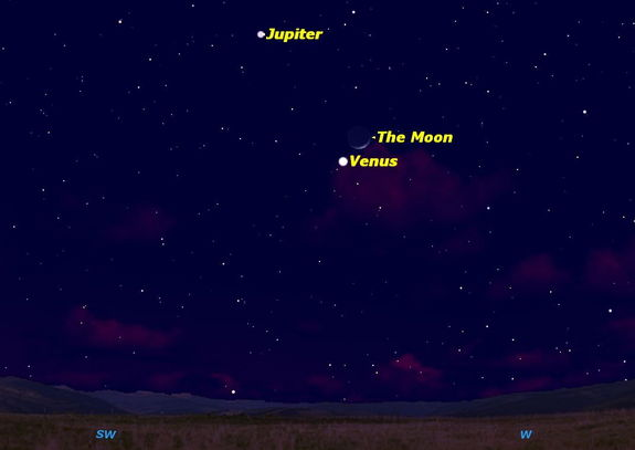 On February 25, 2012, the Moon will be close to the planets Venus and Jupiter.