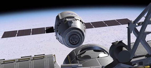 Artist's rendition of SpaceX's Dragon spacecraft with solar panels fully deployed on orbit.