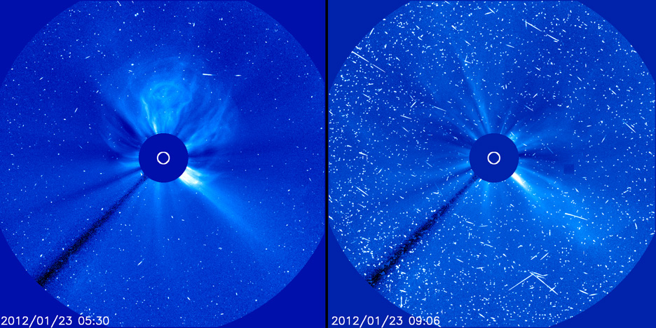Solar Flare Radiation 'Snow' - Jan. 23, 2012