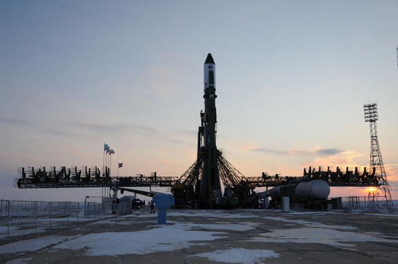 At Baikonur launch site the preparations continue for the launch of Progress M-14M cargo vehicle under the International Space Station program, Jan. 24, 2012.