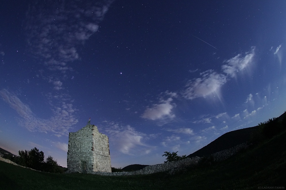 Shooting Star Streaks Over Castle Ruins in Skywatcher Photo
