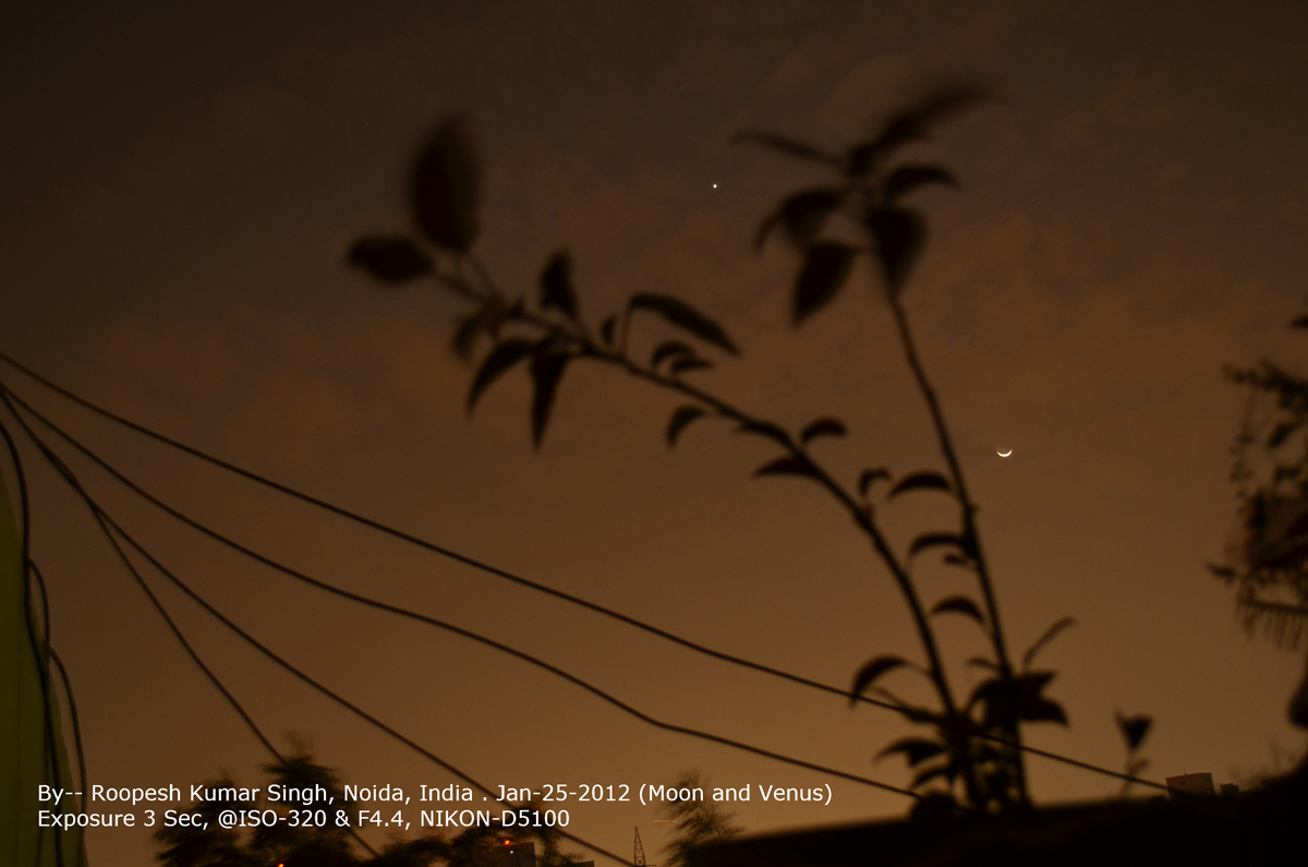 Venus and the Moon over Noida, India