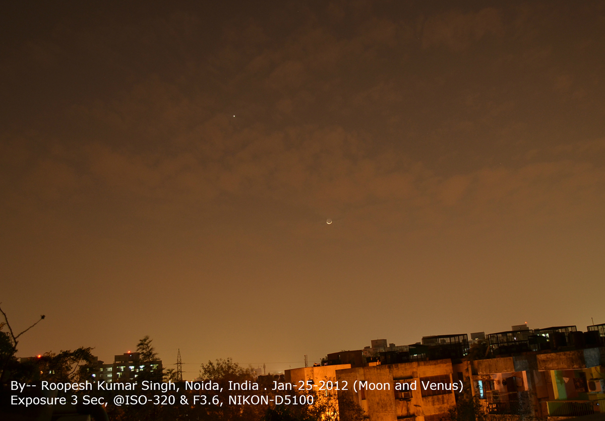 Venus and the Moon over Noida, India #2