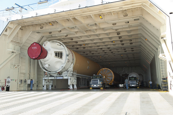 Rockets aboard the Delta Mariner cargo ship. The barge carries rockets from United Launch Alliance's factory in Alabama to two different launch sites — Cape Canaveral in Florida and Vandenberg Air Force Base in California.