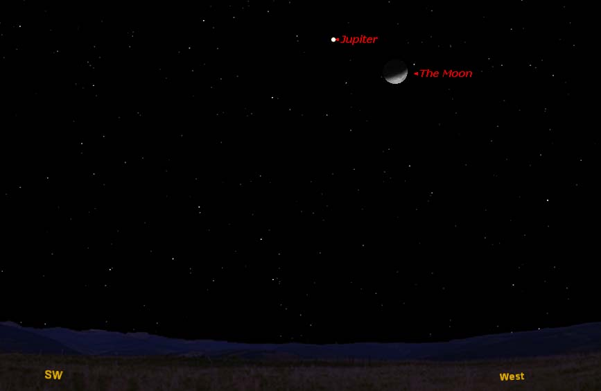 Moon Cozies Up to Jupiter in the Night Sky Sunday