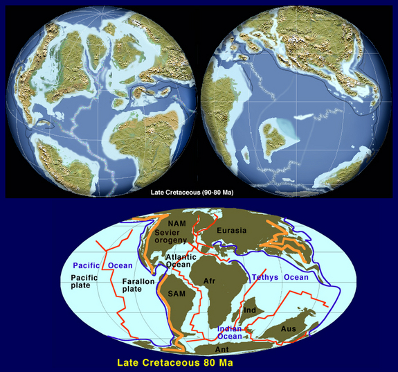 The Earth's continents 85 million years ago.  The different continental distribution would have influenced cloud cover.