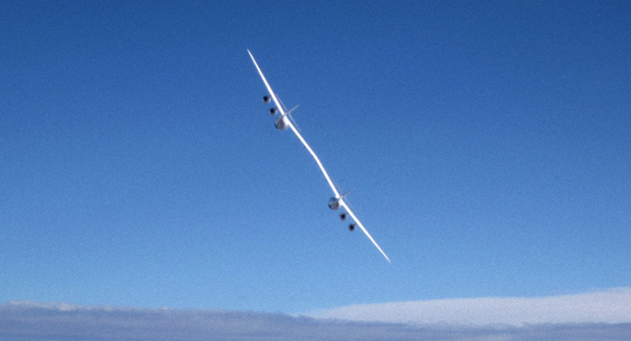 The WhiteKnightTwo (WK2) mothership is piloted from the right-hand cabin by a two-person crew. The novel launch pad takes SpaceShipTwo to high altitude for release.