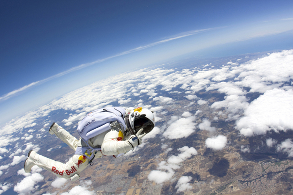 Felix Baumgartner in action. The skydiver hopes to jump from a balloon-borne capsule at an altitude of 120,000 feet, breaking four different records in the process.