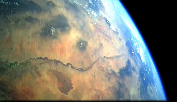 View of the Rio Grande River valley from 239,000 ft (~50 mi) aboard Armadillo Aerospace's STIG-A 3 rocket launched from Spaceport America, taken January 28, 2012.