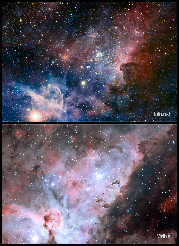 This picture of the Carina Nebula, a region of massive star formation in the southern skies, compares the view in visible light with a new picture taken in infrared light. It was released Feb. 8, 2012.