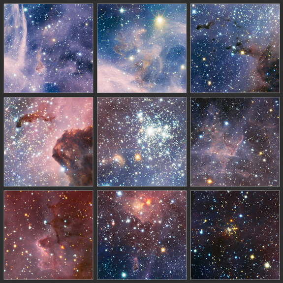 These highlights are part of the broad panorama of the Carina Nebula, a region of massive star formation in the southern skies, which was taken in infrared light using the HAWK-I camera on ESO's Very Large Telescope in Chile. It was released Feb. 8, 2012.