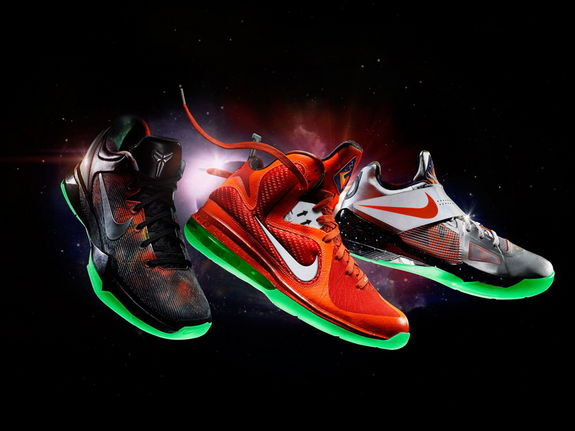 Taking inspiration from space exploration, Nike's new basketball sneaker collection features a 'galactic theme' on the Nike Zoom Kobe VII System, LeBron 9 and Nike Zoom KD IV shoes.