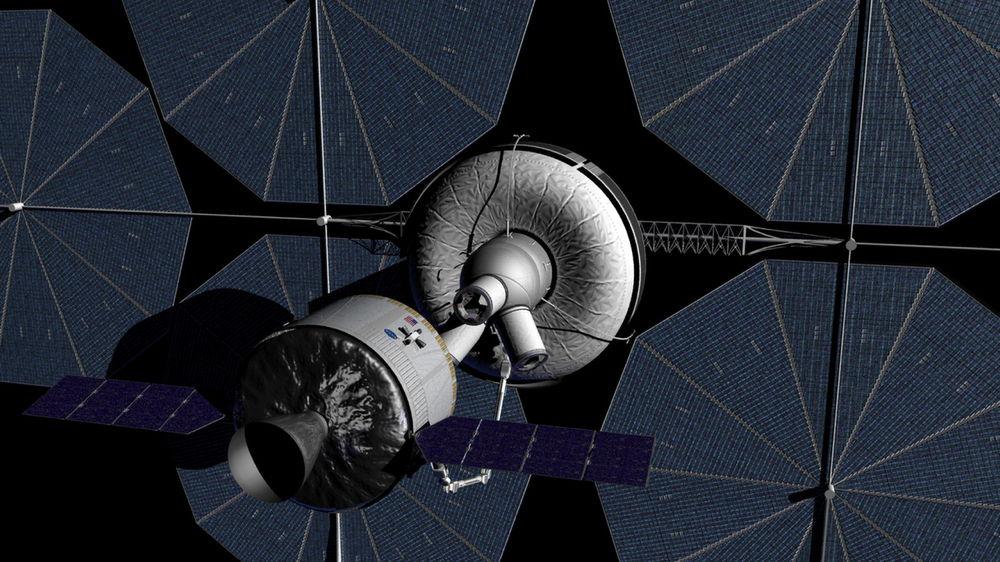 "Multi-Purpose Crew Vehicle Approaching an ""Gateway""-type Habitat"