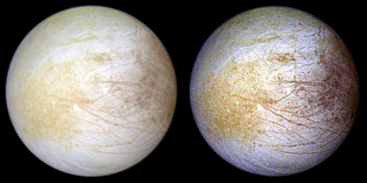 This color composite view combines violet, green, and infrared images of Jupiter's intriguing moon, Europa, for a view of the moon in natural color (left) and in enhanced color designed to bring out subtle color differences in the surface (right). The images in this global view were taken in June 1997.