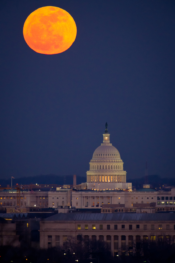 U.S. Capitol Building Beneath a Full Moon