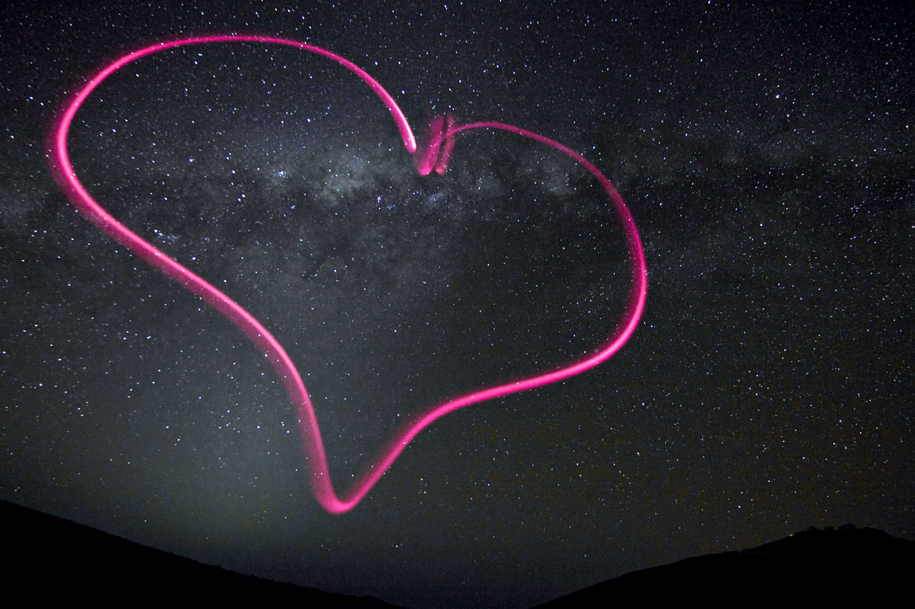 Cosmic Valentine's Day Photo Wraps Milky Way Galaxy in Pink Heart