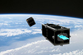 CleanSpace One is chasing its target, one of the CubeSats launched by Switzerland in 2009 (Swisscube-1) or 2010 (TIsat-1). Image released Feb. 15, 2012.