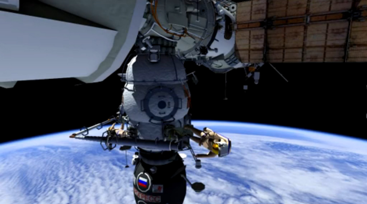 Russian Cosmonauts Float Outside Space Station on Spacewalk