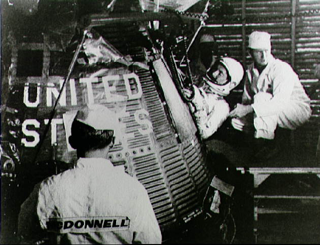 Astronaut Scott Carpenter Inserted into Aurora 7 Spacecraft
