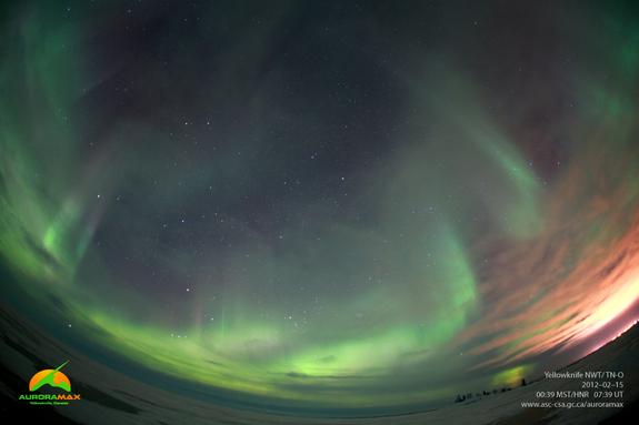 Latest image of aurora borealis above Yellowknife, NWT taken at 00:39 MST on February 15, 2012