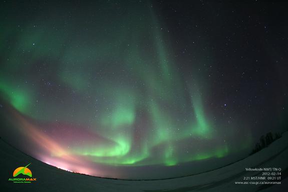 Latest image of aurora borealis above Yellowknife, NWT taken at 02:21 MST on February 14, 2012.