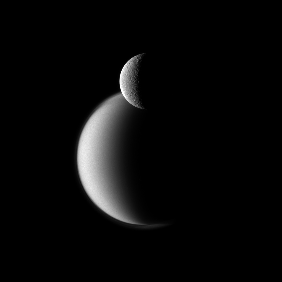 Cassini Photo of Saturn Moons Rhea and Titan