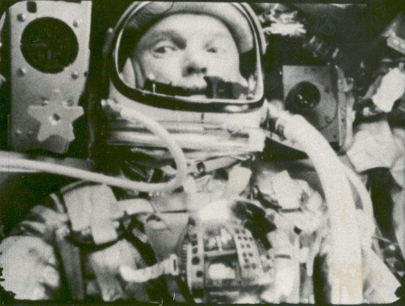 "Astronaut John Glenn photographed in space by an automatic sequence motion picture camera during his historic orbital flight on ""Friendship 7"" on Feb. 20, 1962."