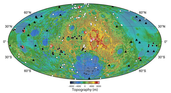 Locations of newly discovered young graben (red stars) — trenchlike scars — on the moon along with recently detected (white dots) and previously known (black dots) contractional lobate scarps. The newfound graben are widely distributed and located near lobate scarps. The locations of 26 shallow moonquakes recorded by the Apollo seismic network with stations at the Apollo 12, 14, 15, and 16 landing sites are shown by the (black triangles).