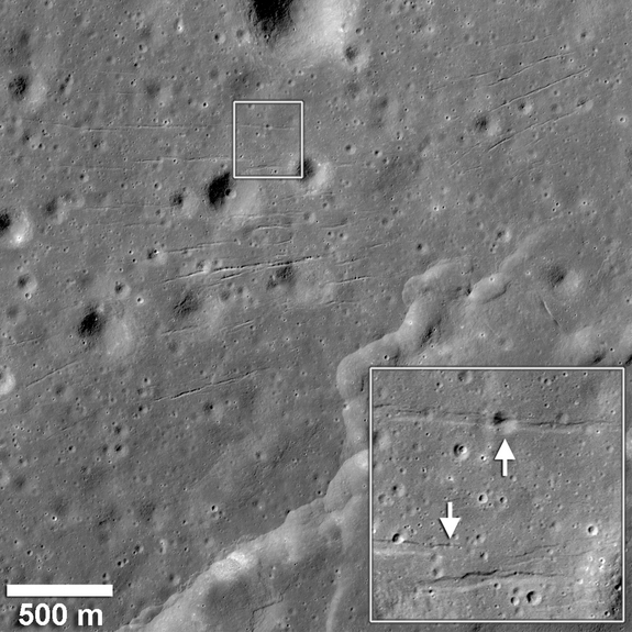 A series of graben in a patch of mare basalts that occupy a valley south of Mare Humorum cut across and deformed several small diameter impact craters. The walls and floors of the graben crosscut a degraded 27 m diameter crater (inset, upper white arrow) and a 7 m diameter crater (inset, lower white arrow). Since small craters only have a limited lifetime before they are destroyed by other impacts, their deformation by graben indicates that these fault-bound troughs are relatively young.