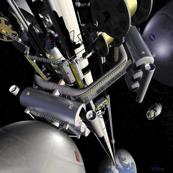 Artist's concept of a space elevator system, looking down at Earth from 22,000 miles (36,000 kilometers) up.