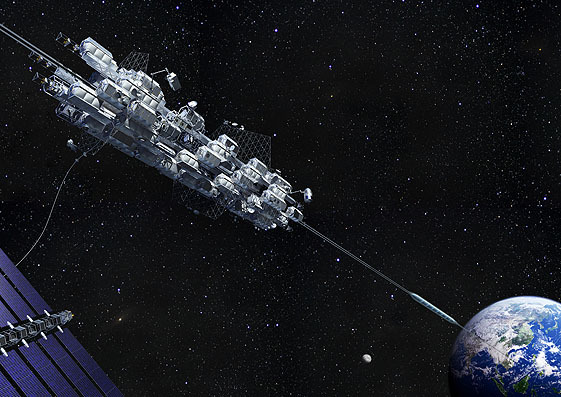 An artist's illustration of a space elevator hub station in space as a transport car rides up the line toward the orbital platform. Solar panels nearby provide power.